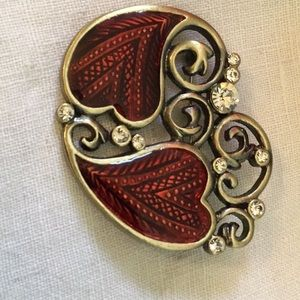 Jewelry - Valentines double heart with rhinestones Brooch!